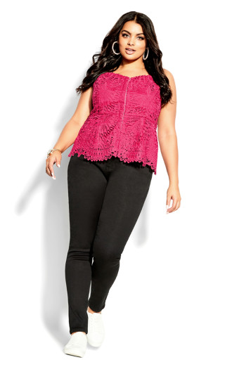 Strappy Lace Top - raspberry