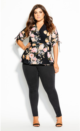 Tuscan Rose Top - black