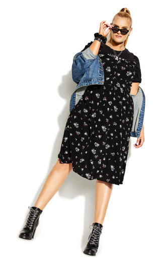 Ditsy Belle Dress - black