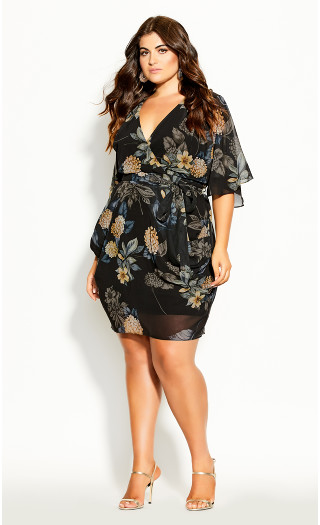 Golden Floral Wrap Dress - black