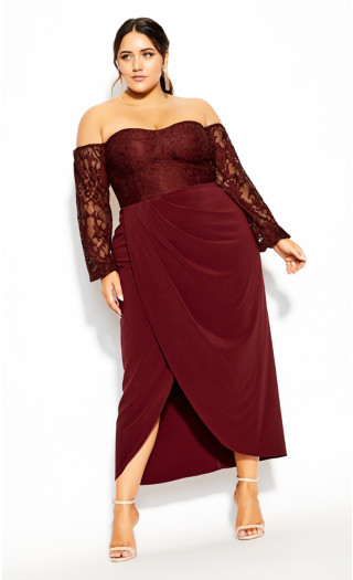 Romantic Rosa Maxi Dress - bordeaux