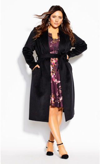 Romantic Luxe Wool Blend Coat - black