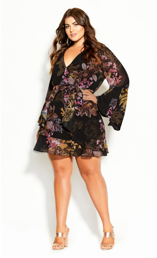 Malaga Floral Dress - black