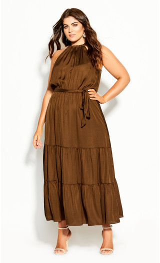 Halter Lady Maxi Dress - copper