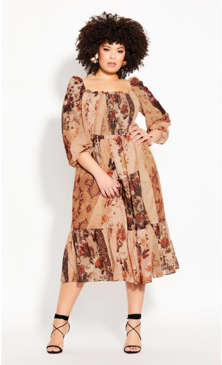 Paisley Puzzle Dress - ochre