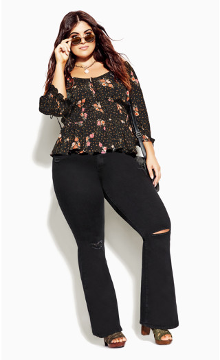 Ditsy Vibes Top - black