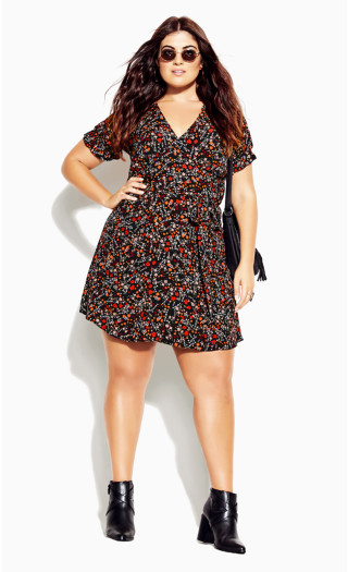Retro Ditsy Dress - black