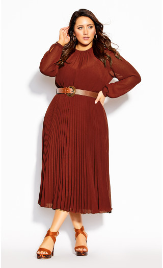 Love Pleat Dress - henna