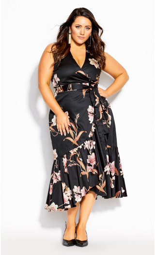 Floating Lily Dress - black