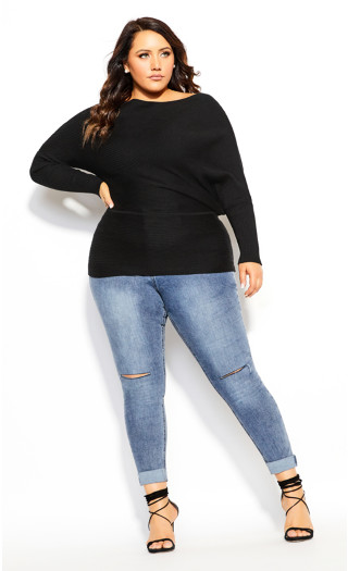 Fitter Rib Jumper - black