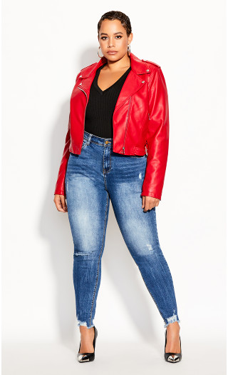 Lust Biker Jacket - crimson