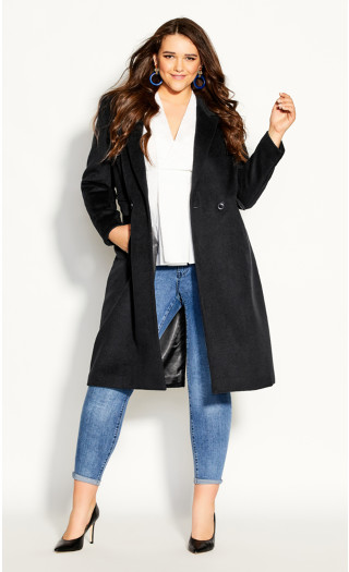 Luxe Lover Wool Blend Coat - black