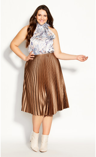 Satin Pleat Skirt - bronze
