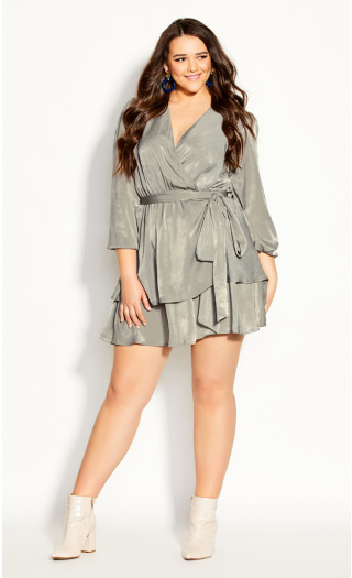 Twisted Ruffle Dress - sage