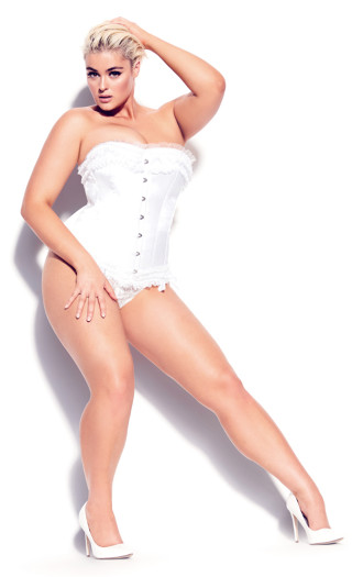 Milly Bow Satin Corset - ivory