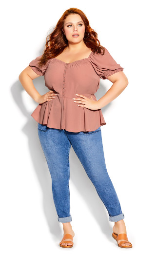 Simple Romance Top - guava