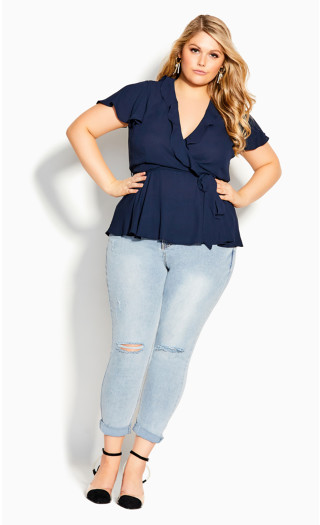 Wrap Frills Top - navy