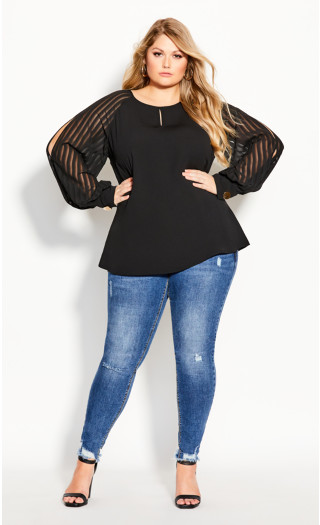 Lust Sleeve Top - black