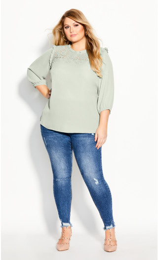Lace Angel Elbow Sleeve Top - dewkist