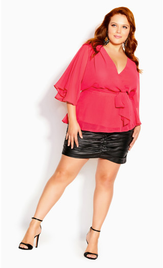 Elegant Wrap Top - hot pink