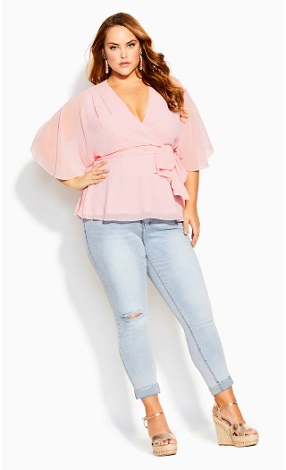 Elegant Wrap Top - ice pink