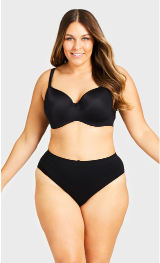 Seamless Hi-Cut Brief - black