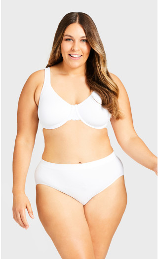 Seamless Hi-Cut Brief - white