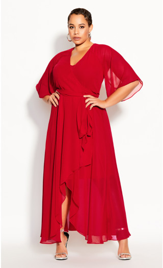 Enthrall Me Maxi Dress - crimson