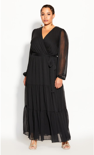 Tiered Love Maxi Dress - black
