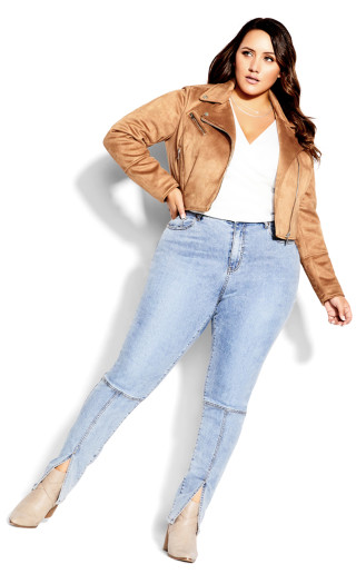 Faux Suede Love Jacket - tan