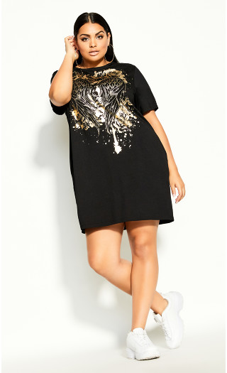 Heart Wings Dress - black