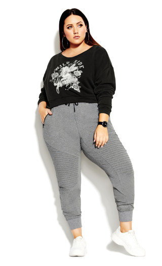 Wild Ride Sweat Top - charcoal