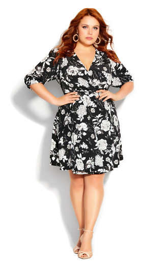 Mod Floral Dress - black