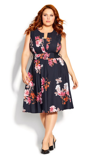 Crush Floral Belted Dress - black