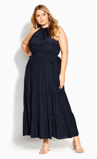 Tiered Halter Maxi Dress - navy