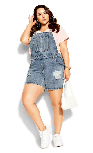 90's Overalls Short - stone wash