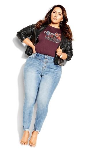 Harley Exposed Button Jean - mid denim