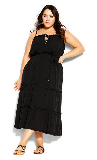 Fine Frill Maxi Dress - black