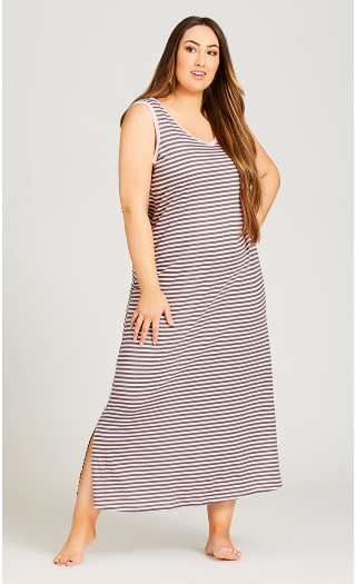 Stripe Maxi Sleep Dress - pink