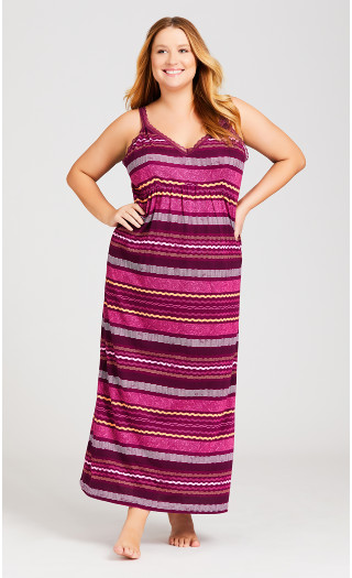 Lace Stripe Maxi Dress - plum