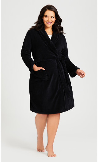 Plain Tie Robe - black