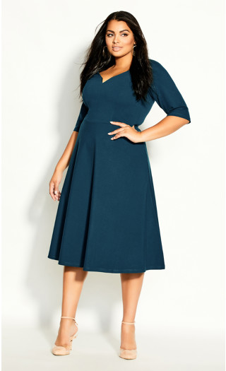 Cute Girl Elbow Sleeve Dress - alpine