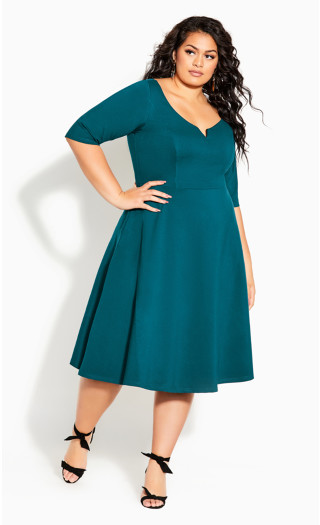 Cute Girl Elbow Sleeve Dress - teal