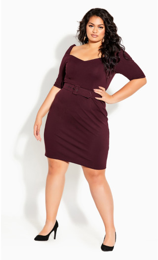 Illusive Sleeve Dress - oxblood