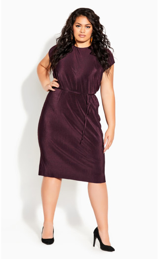 Baby Pleat Dress - plum