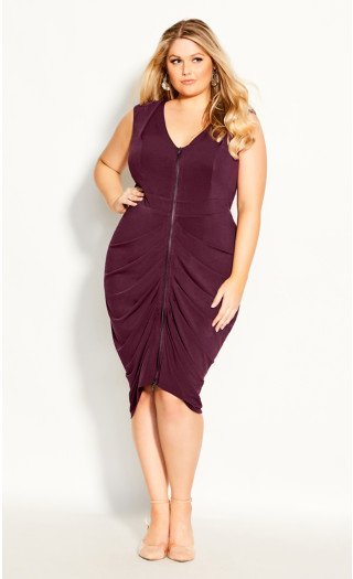 Sexy Drape Dress - plum