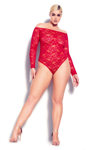 Sheer Lace Bodysuit - ruby