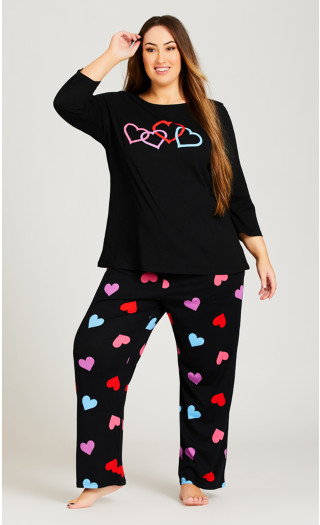 Full Length Heart Sleep Bottoms - black