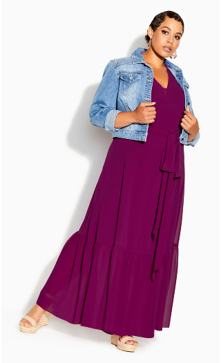 Flutter Wrap Maxi Dress - magenta