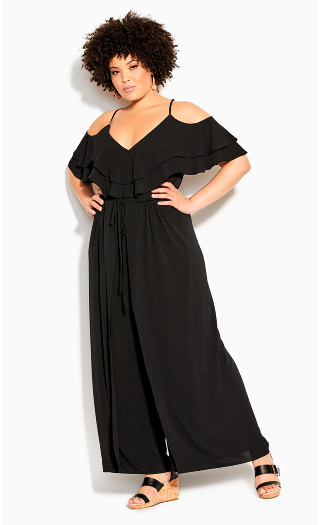 Split Front Jumpsuit - black